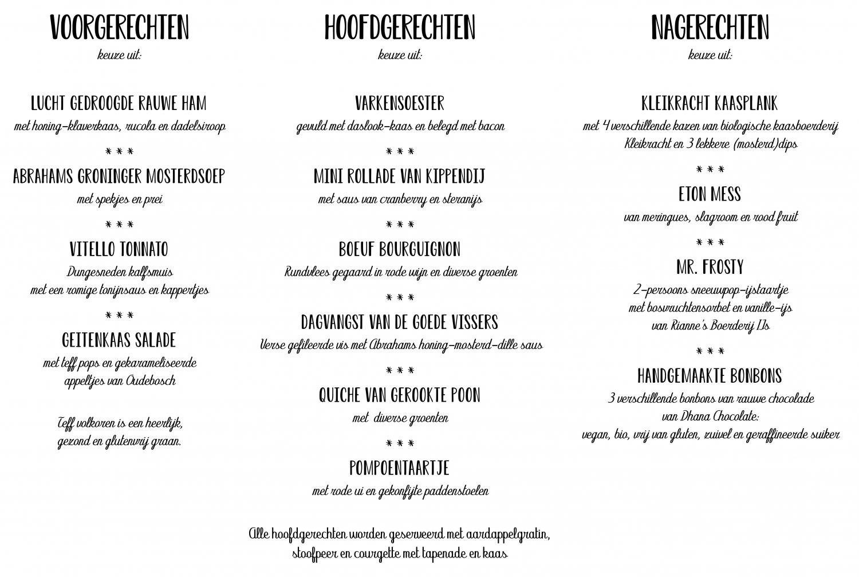 Kerstdinerbox menu